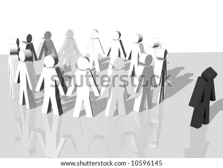 3d rendering of a group of white men excluding a black man - stock photo