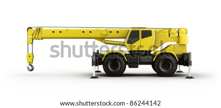 3d rendering of a highly realistic crane seen from the side. - stock photo