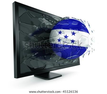 3d rendering of a Honduran soccerball breaking through monitor - stock photo