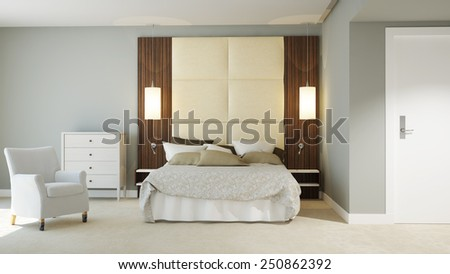 3D Rendering of a Hotel Room - stock photo