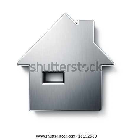 3d rendering of a house in brushed metal on a white isolated background. - stock photo