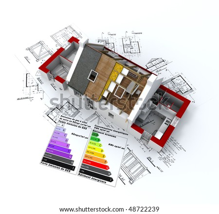 3D rendering of a house in construction, on top of blueprints, with and energy efficiency rating chart - stock photo