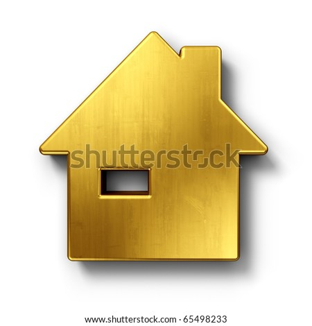 3d rendering of a house in gold on a white isolated background. - stock photo
