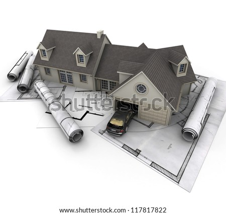 3D rendering of a house on a white background - stock photo