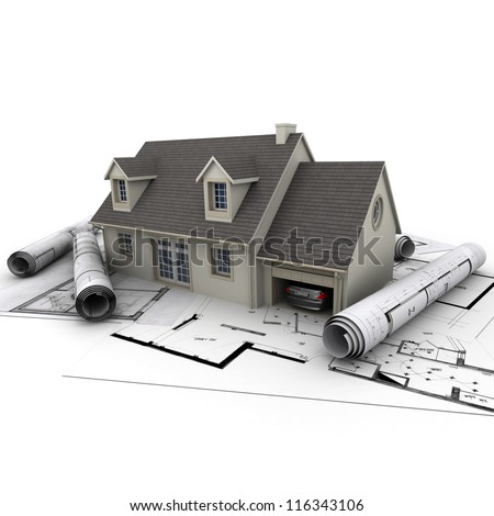 3D rendering of a house with garage on top of blueprints - stock photo