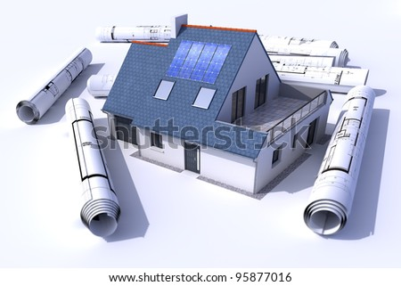 3D rendering of a house with solar panels on the roof surrounded by rolls of blueprints - stock photo