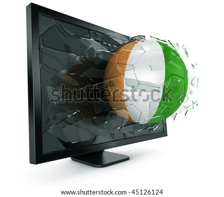 3d rendering of a Ivorian soccerball breaking through monitor - stock photo