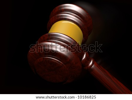 3d rendering of a judges gavel coming down