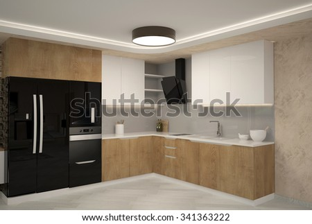 3d rendering of a kitchen interior design - stock photo