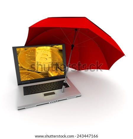3D rendering of a laptop with bitcoins on the screen, protected by an umbrella - stock photo