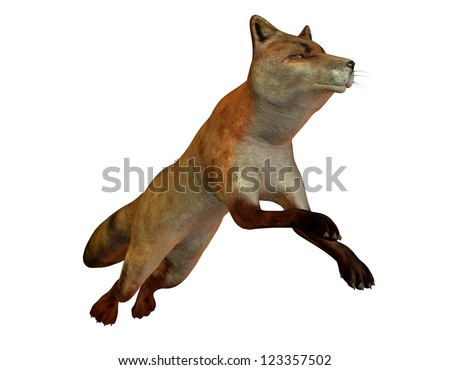 3D rendering of a leaping fox