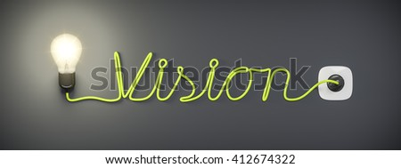 3d rendering of a light bulb with the word vision - stock photo