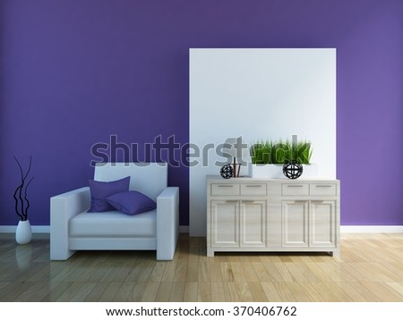 3D rendering of a lilac interior with a white armchair and a dresser