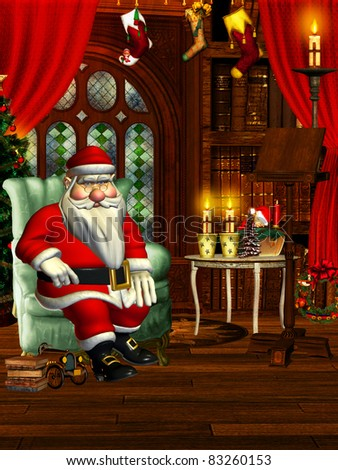 3d rendering of a living  of Santa Claus in comic style as illustration