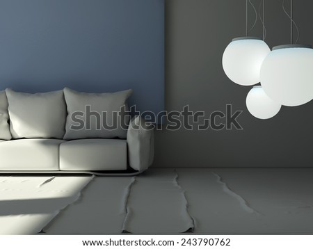 3D rendering of a living room pillow sofa in front of a big blue frame picture with hanging lights in front - stock photo