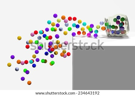 3d rendering of a lot of colored balls - stock photo