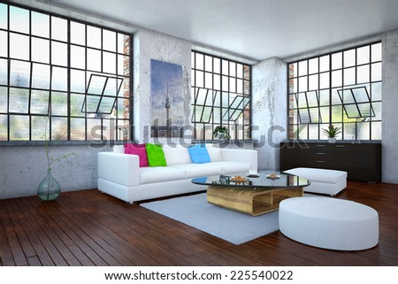 3d rendering of a luxurious apartment - living room - stock photo