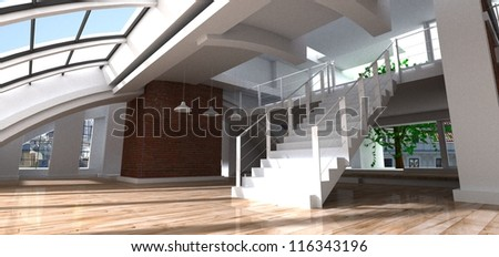 3D rendering of a luxurious loft - stock photo