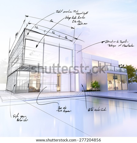 3D rendering of a luxurious villa contrasting with a technical draft part - stock photo