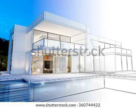 3D rendering of a luxurious villa with contrasting realistic rendering and wireframe  - stock photo