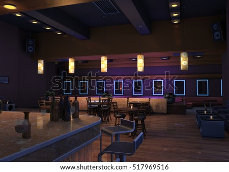 3D rendering of a luxury night lounge bar in a purple light