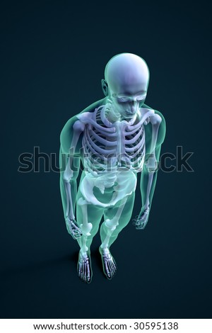 3D rendering of a male figure with visible skeleton structure - stock photo