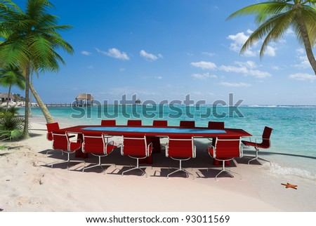 3D rendering of a meeting room in a beautiful tropical beach - stock photo