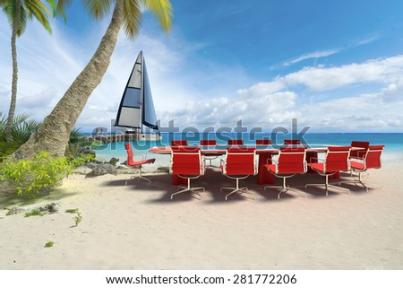 3D rendering of a meeting table in a tropical beach - stock photo