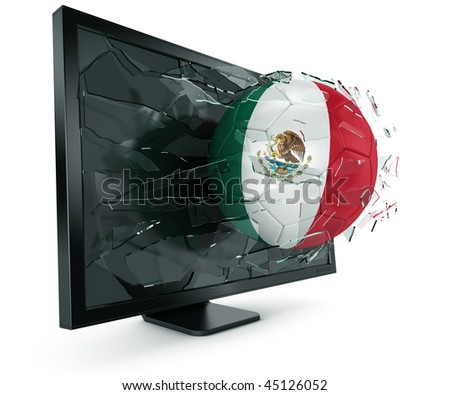 3d rendering of a Mexican soccerball breaking through monitor - stock photo