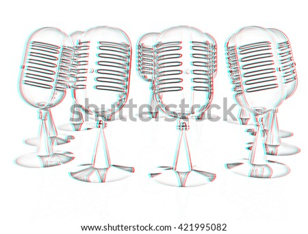 3d rendering of a microphones. Pencil drawing. 3D illustration. Anaglyph. View with red/cyan glasses to see in 3D. - stock photo