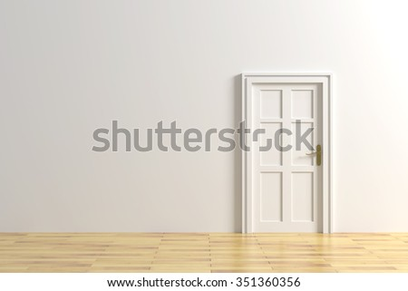 3d rendering of a minimalism room with a door - stock photo