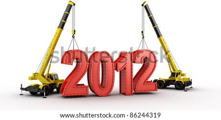 3d rendering of a mobile crane lifting the last letters in place to spell the word 2012 - stock photo