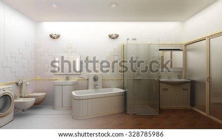 3D rendering of a modern bathroom interior design