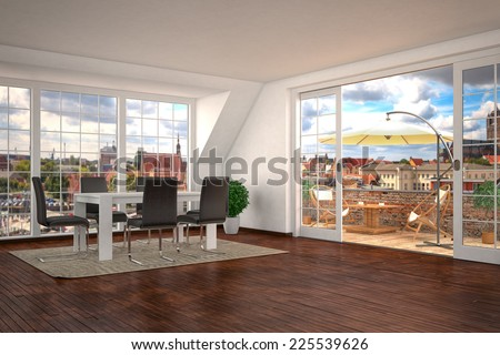 3d rendering of a modern dining area of home with sliding glass doors leading to outdoors with balcony. - stock photo