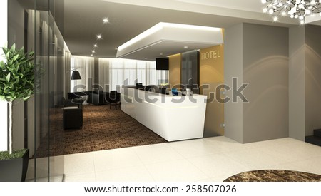 3D rendering of a modern hotel reception and lobby bar - stock photo