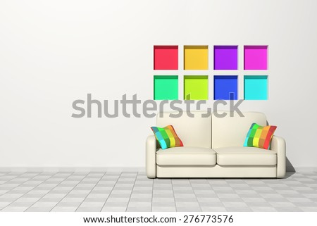 3d rendering of a modern interior with colored cushions and a sofa - stock photo