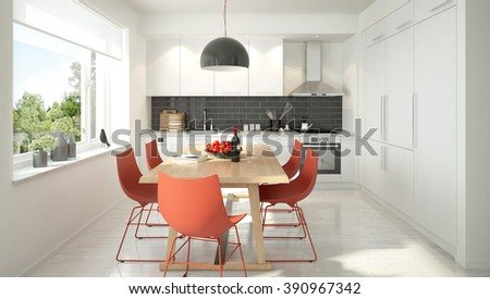 3D rendering of a modern light colored kitchen - stock photo