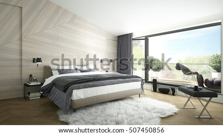 3D rendering of a modern luxurious bedroom with a balcony