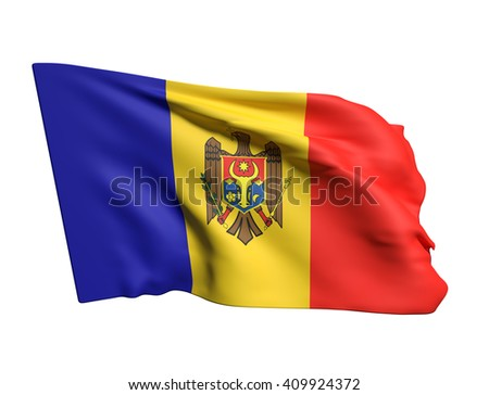 3d rendering of a Moldova flag waving in white background - stock photo