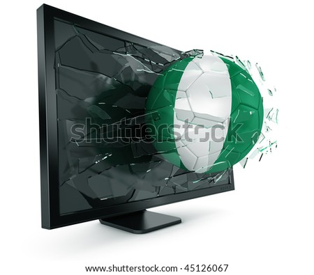 3d rendering of a Nigerian soccerball breaking through monitor - stock photo