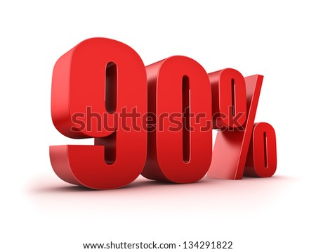 3D Rendering of a ninety percent symbol - stock photo