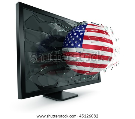 3d rendering of a North American soccerball breaking through monitor - stock photo
