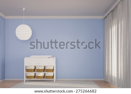 3D Rendering of a Nursery room with crib