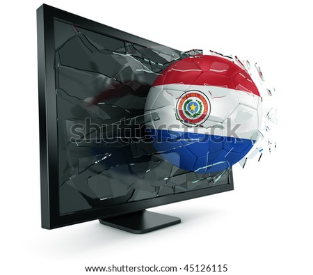 3d rendering of a Paraguayan soccerball breaking through monitor - stock photo