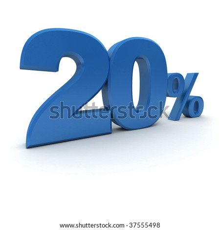 3D rendering of a 20 per cent in blue letters on a white background