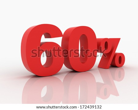 3d rendering of a 60 percent discount in red letters on a white background - stock photo