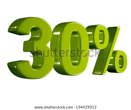 3D rendering of a 30 percent in green letters on a white background - stock photo
