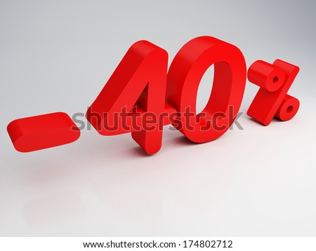 3D rendering of a 40 percent  in red letters - stock photo