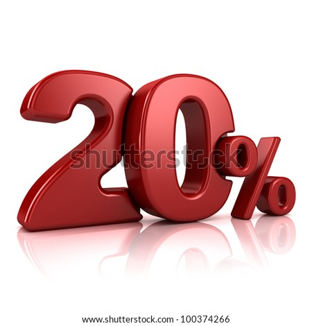 3D rendering of a 20 percent in red letters on a white background - stock photo