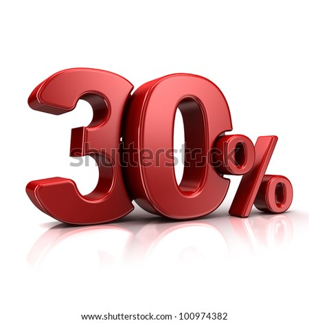 3D rendering of a 30 percent in red letters on a white background - stock photo